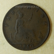 Anglie - 1 farthing 1860