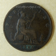 Anglie - 1 farthing 1866